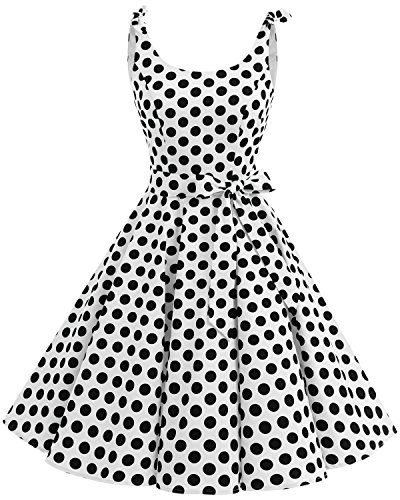 - Bbonlinedress 1950's Bowknot Vintage Retro Polka Dot Rockabilly Swing Dress White Black BDot S
