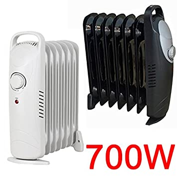 a4b61bd1f07 MINI 700W OIL FILLED RADIATOR PORTABLE ELECTRIC THERMOSTAT 6 FIN HEATER  COMPACT (BLACK)  Amazon.co.uk  Kitchen   Home