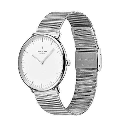 Nordgreen Unisex Native Scandinavian Silver Analog Watch 36mm with Silver Mesh Strap...