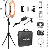 Zomei 18 Inch Ring Light Dimmable LED with Stand Cell Phone Spring Clip Holder Good for Beauty Facial Make Up Live Stream Camera Smartphone YouTube Video Shooting