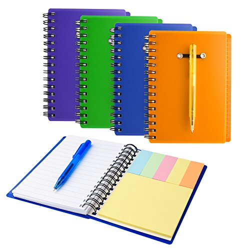 Pocket Spiral Notebook - Coopay 4 Pieces Spiral Notebook Cover Paper Steno Pocket Notepad with Pen in Holder and Sticky Notes, Page Marker Index Tabs Flags, 4 Colors (Multiple Colors)