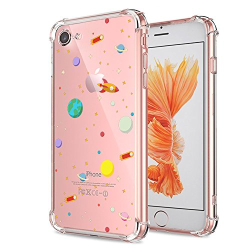 iPhone 7 8 Case Clear with Design Cute Outer Space Galaxy Planet Pattern Print Protective Case for Both iPhone 7 and iPhone 8, Shockproof Flexible Soft Rubber Slim Fit Science Universe Cover for Teens