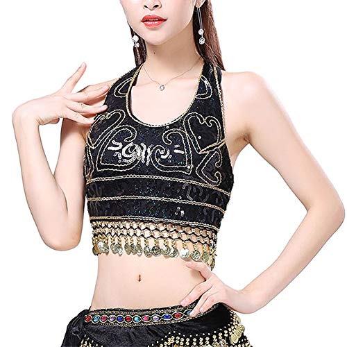 Seevy Womens Sequin Halter Bra Top Salsa Belly Dance Boho Festival Clubbing Tribal Crop Top ()