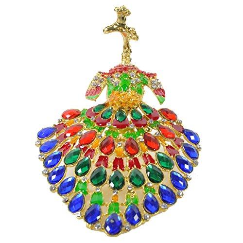 [NEW] Figurine Jewelry Trinket Box Handcrafted Vintage Collectible for Keepsake Art Decor Holder Organizer Pill Box, BeJeweled w/ Swarovski Crystals ( Peacock ) (Peacock - Rainbow Gem 01)