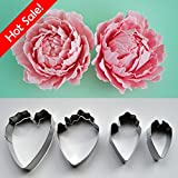 Fondant Cake Decoration Floral Petal Cutter Gumpaste Flower Cutter Stainless Steel Peony Cutter Set of 4 Easybaking(tm)