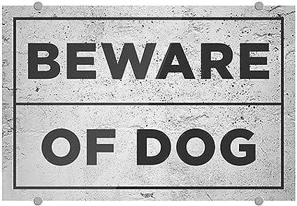 5-Pack 18x12 Basic Gray Premium Acrylic Sign CGSignLab Beware of Dog