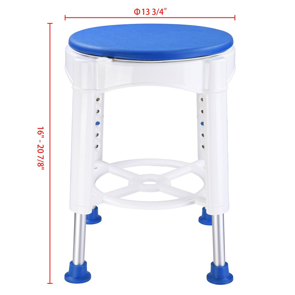 AW 14'' Adjustable Medical Bath Stool Bathroom Safety Shower Stool Swivel Chair with Rotating Seat Aluminum by AW (Image #8)