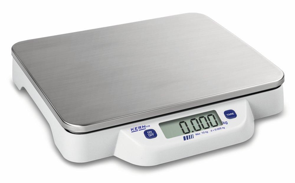 Bilancia da tavolo [Kern ECB 20K-2N] Piatta, mobile, semplice, Pesata in acciaio inox, Campo pesata [Max]: 20 kg, leggibilità : 10 g. leggibilità: 10 g.
