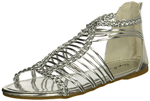 Qupid Women's Caged Sandal Flat, Silver, 10 M US