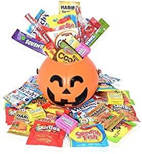 Halloween Care Package Gift Basket - Over 2.5 Pound Candy and Snacks - Perfect for kids, girls, boys, and college students - Comes with Halloween Bucket