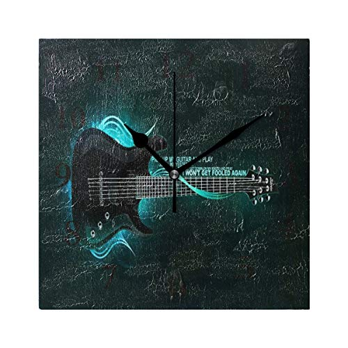 ZHOUSUN Personalized Non Ticking Silent Clock Art Living Room Kitchen Bedroom for Home Decor Music Guitar Square Acrylic Wall Clock
