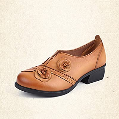 Socofy Women's Pumps-Shoes,Leather Flower Retro Mid Heel Non-Slip Original Folkways Handmade Outdoor Shoes