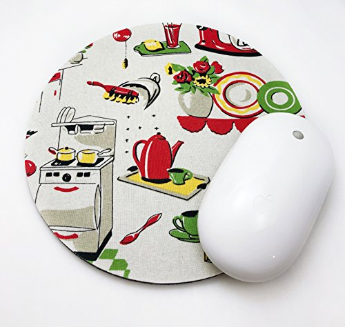 Retro Kitchen Mouse Pad / Fabric Covered / Office Supplies / Home Office / Decor / Desk / Mac Book / PC / Mousepad / Work Space / Office decor / Kitschy