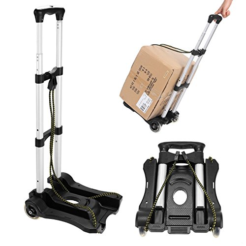 [US Stock] Pesters 80lbs Capacity Compact Lightweight Aluminum Luggage Cart, Portable Folding Travel Hand Truck and Dolly with Telescoping Handle by Pesters
