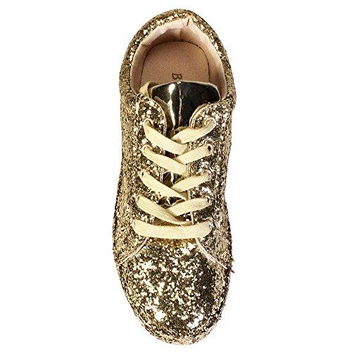 Bambu Kvinna Spets-up Sneaker Guld Glitter