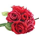 Mikey Store 9 Heads Artificial Silk Fake Flowers Leaf Rose Wedding Floral Decor Bouquet (Red)