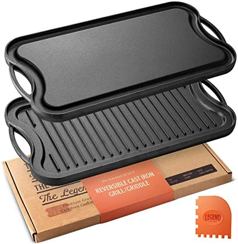 Legend Cast Iron Griddle for Gas Stovetop 2-in-1 Reversible 20 Cast Iron Grill Pan For Stovetop with Easy Grip Handles Use On Open Fire In Oven Lightly Pre-Seasoned Gets Better with Each Use