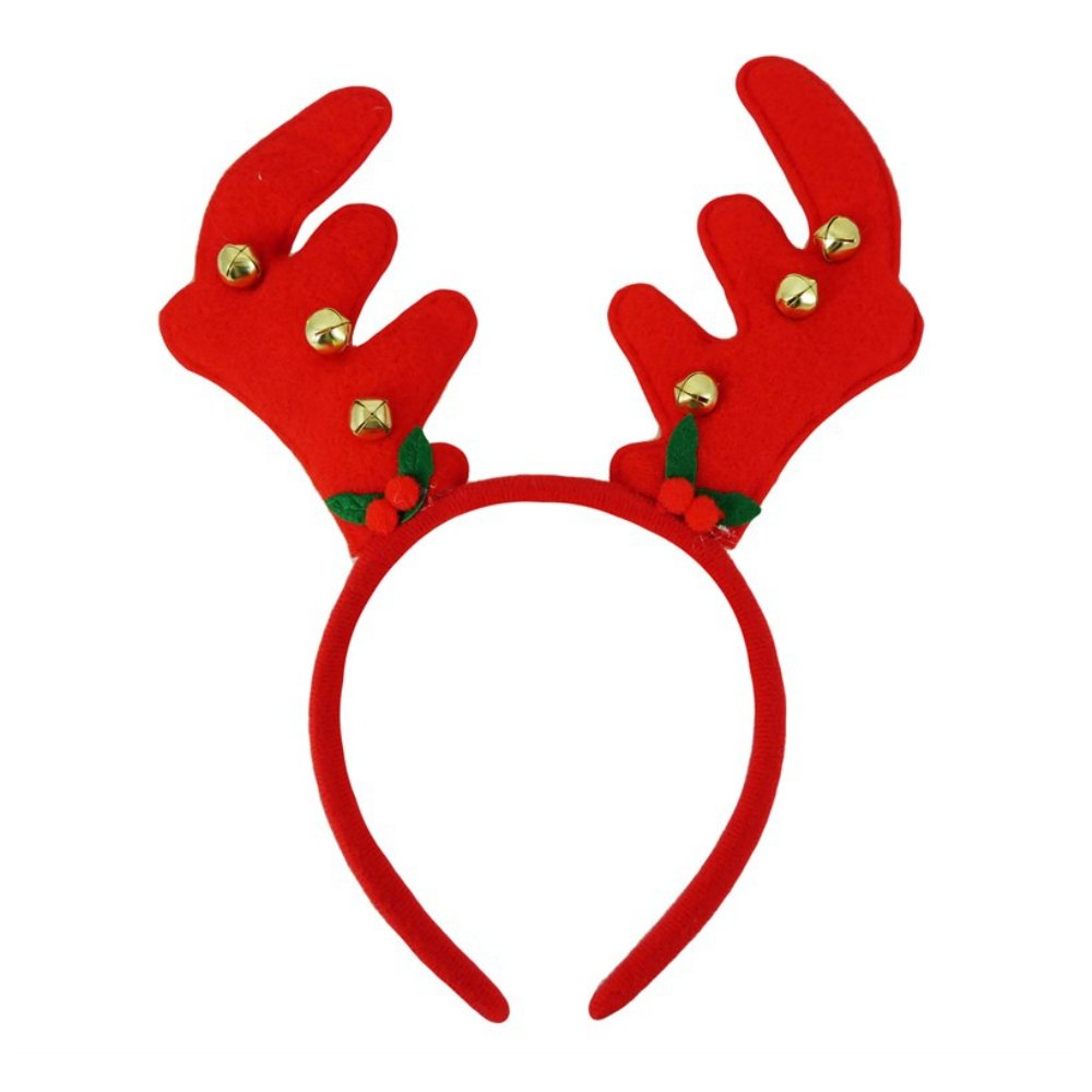 Christmas Felt Reindeer Antler Jingle Bells Alice Hair Band Headband Accessories