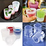 BJE 4 Cup Glass Shape Silicone Ice Cube Maker Freeze Mould Drink Party Ice Tray