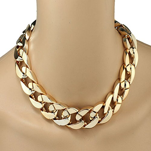 Owill Women Girls Shiny Link ID Celebrity Style Alloy Personality Choker Necklace (A, - Style Celebrity Kids