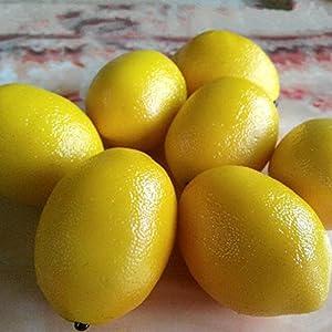 Gresorth 8pcs Artificial Lifelike Simulation Yellow Lemon Fake Fruit Home Kitchen Cabinet Decoration Food Model 2