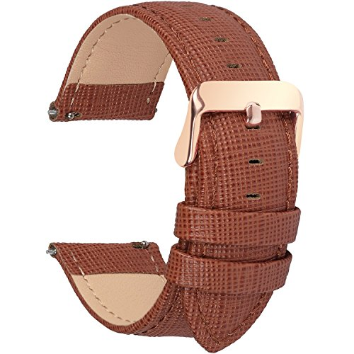 6 Colors for Quick Release Leather Watch Band, Fullmosa Cross Genuine Leather Replacement Watch Strap with Stainless Metal Clasp 18mm Brown ()