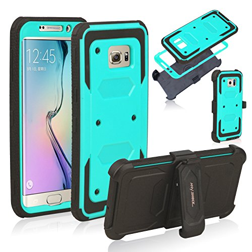 Anyshock[Armor Series] Heavy Duty Shockproof Durable Full Body Protection Rigged Hybrid Case with Belt Clip Holster and Kickstand for Samsung Galaxy S6 Edge Plus(Free Screen Protector Included) (Aqua)