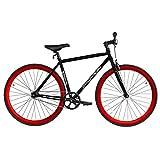 Micargi RD818-57-MBK-RED Unisex Road Bike44; Matte Black &Red
