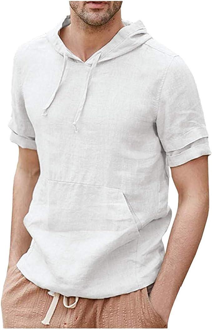 MIRRAY - Camisa para Hombre, de Lino, con Capucha, Informal, Peso ...