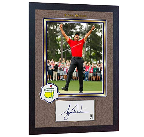(S&E DESING 2019 Tiger Woods Masters Tournament Signed Autographed Golf Photo Printed Framed)
