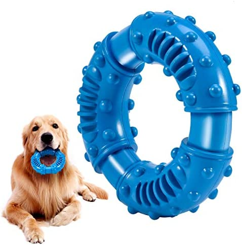 Feeko Dog Chew Toys for Aggressive Chewers Large Breed, Non-Toxic Natural Rubber Indestructible Dog Toys, Tough Durable Puppy Chew Toy for Medium Large Dogs – Fun to Chew, Chase and Fetch(Blue)