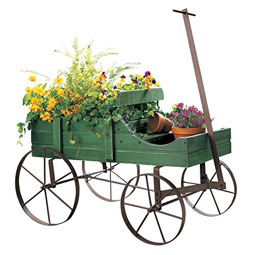 Amish Wagon Decorative Indoor/Outdoor Garden Backyard Planter Green