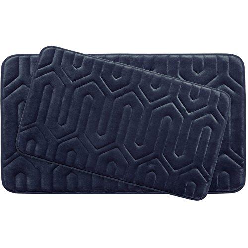 Bounce Comfort Extra Thick Memory Foam Bath Mat Set - Thea Premium Plush 2 Piece Set with BounceComfort Technology, 20 x 32 in. Indigo -  YMF Carpets, Inc., YMB003733