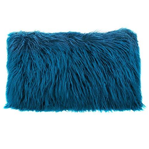 Fur Throw Pillow Covers : Home Decorative Plush Mongolian Fur Throw Pillow Cover Cushion Case 12x20 Blue eBay