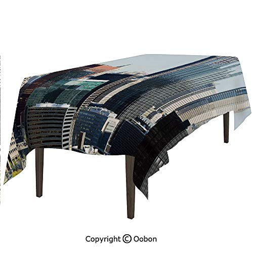 oobon Space Decorations Tablecloth, American Architecture Pittsburgh PA Skyline Pennsylvania Modern Cityscape, Rectangular Table Cover for Dining Room Kitchen, W90xL132 inch]()