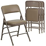 4 Pk. HERCULES Series Curved Triple Braced & Double Hinged Beige Vinyl Upholstered Metal Folding Chair