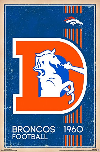 Trends International Denver Broncos - Retro Logo Premium Wall Poster, 22.375