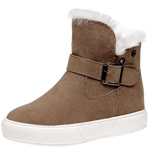 Women's Mashiaoyi increaser Boots Buckle Flat Zip Inner Khaki Snow ZdrdwqP