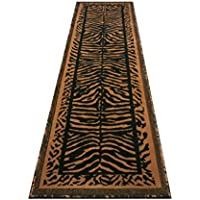 Animal Print Rug Runner 2 Ft. X 7 Ft. 2 Inch. Black/Gold Kingdom #142
