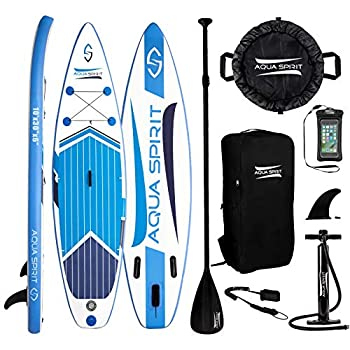 Image of AQUA SPIRIT All Skill Levels Premium Inflatable Stand Up Paddle Board for Adults & Youth | Beginner & Intermediate iSUP Touring & Racing Model | Adjustable Aluminum Paddle Carry Bag SUP Safety Leash Stand-Up Paddleboards