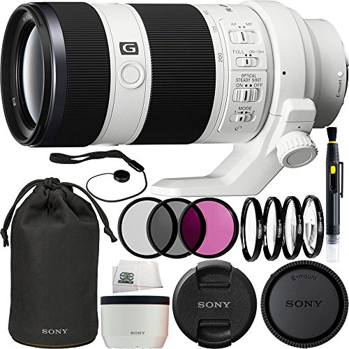 Sony FE 70-200mm f/4.0 G OSS Lens 14PC Accessory Bundle. Includes Manufacturer Accessories + 3PC Filter Kit + 4PC Macro Filter Kit + Lens Pen + Cap Keeper + Microfiber Cleaning Cloth by SSE