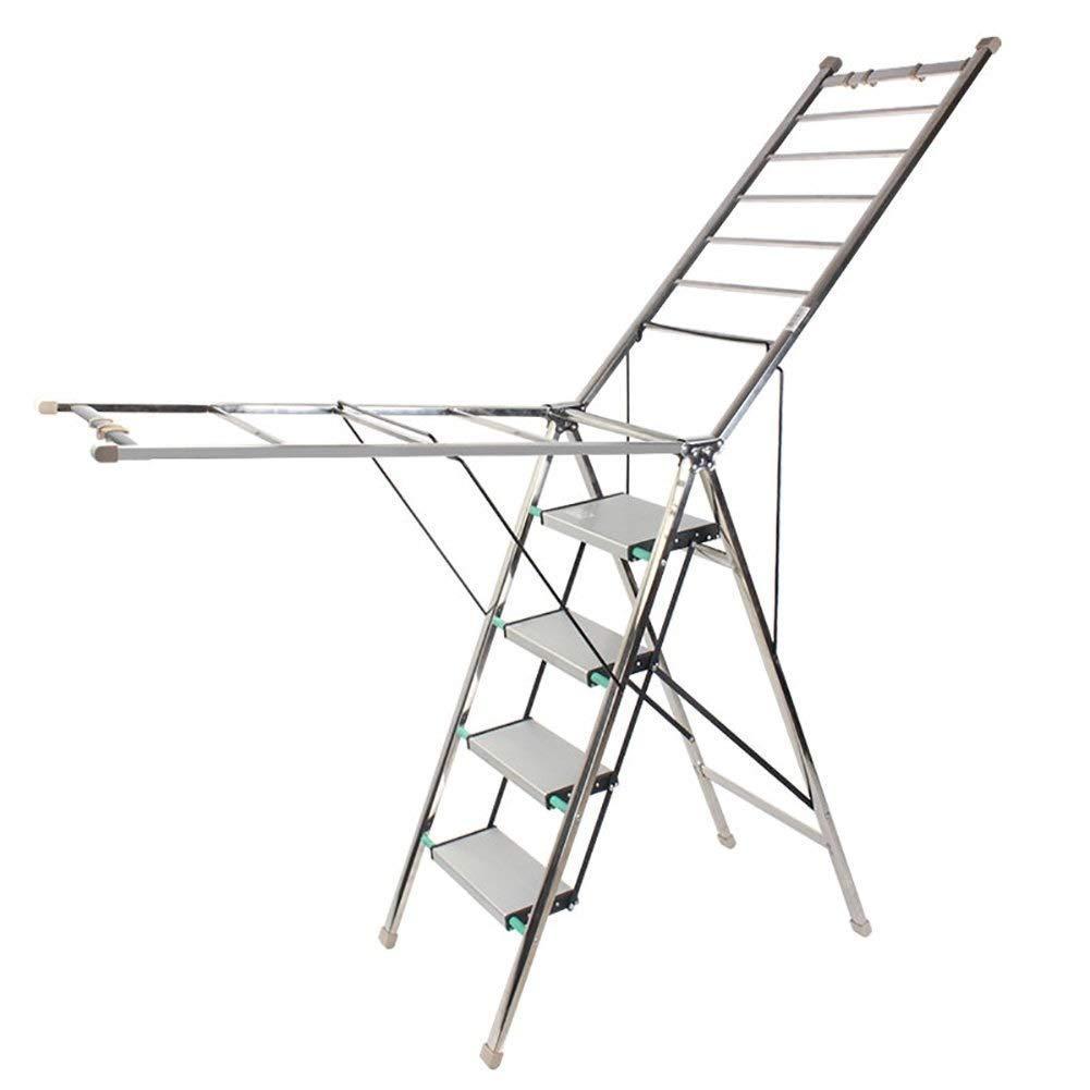 乾燥ラック、折りたたみ式兼用はしごアルミ合金4つのポータブルポータブル家庭用はしご B07S7951Q9
