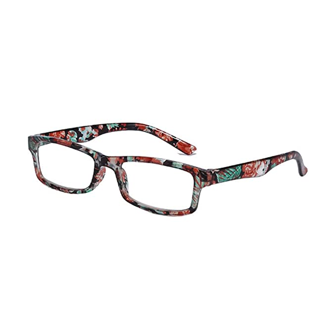 f51a4a2912a Aiweijia Fashionable Spring Hinge Rectangular Reading Glasses Floral Design  frame Fashion Readers for Men women  Amazon.co.uk  Clothing