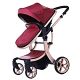 YK Luxury Newborn Baby Pram Infant Foldable Anti-shock High View Stroller Pushchair Travel System for Baby to Sit or Lie down (Red)