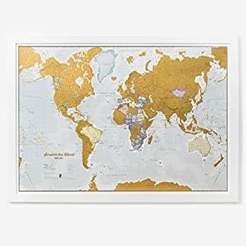 Scratch the World® - scratch off your map of the world travel poster! - detailed cartography - Large Size 33¼ x 23½ inches