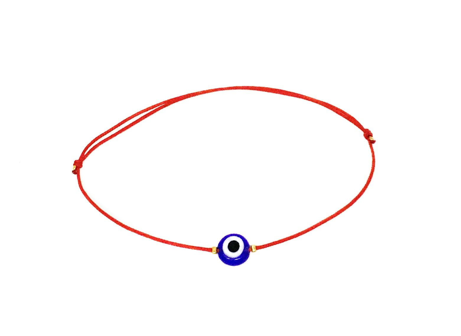 Naz Collection Red String Glass Evil Eye Bracelet
