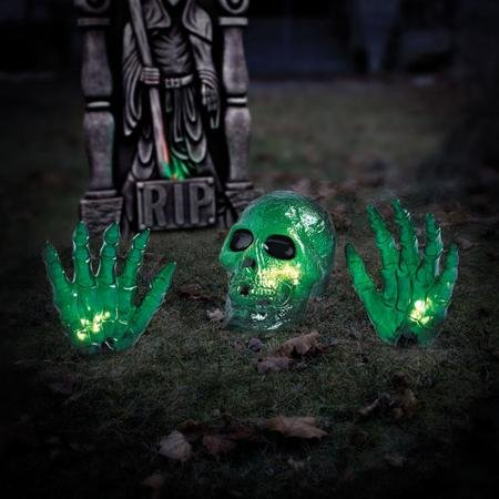 4' Wide Green Lighted Ground Breaker Skull / Transparent Skeleton With Hands Halloween Decoration -