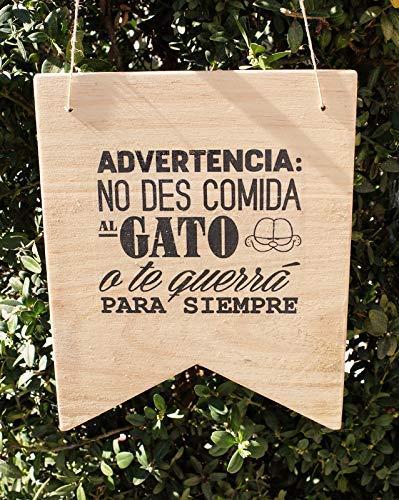 Cuidado con el gato! - cartel madera decorativo con cuerda ...