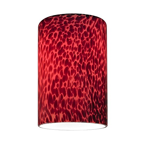 Cylinder Glass Shade with Red Art Glass - Lipless with 1-5/8-Inch Fitter - Red Glass Shade