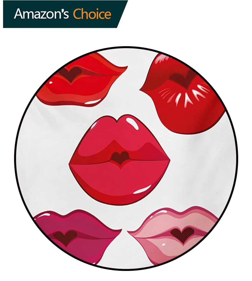 RUGSMAT Kiss Round Rug,Woman Sexy Lip Heart Shape Kiss Female Love Valentine Affection Amour Make Up Carpet Door Pad for Bedroom/Living Room/Balcony/Kitchen Mat,Diameter-59 Inch Red Rose Pink White